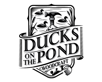 Ducks On The Pond Woodcraft logo design