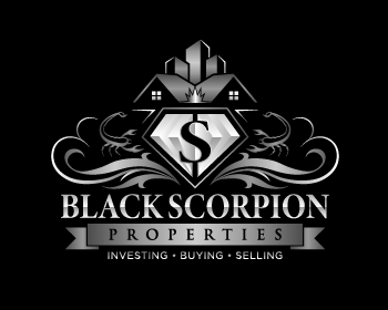 Black scorpion properties logo design