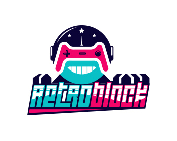 retroblock logo design
