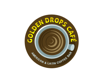 golden drops café logo design