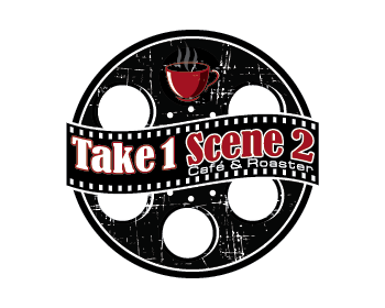 Logo design for Take 1 Scene 2 cafe' & Roaster