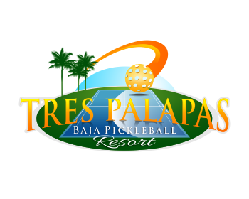 Tres Palapas Baja Pickleball Resort logo design
