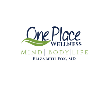 One Place Wellness ( then second line  ) Mind.  Body. . Life. ( third line )Elizabeth Fox, MD logo design