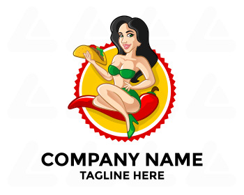 Ready made logo design: taco girl
