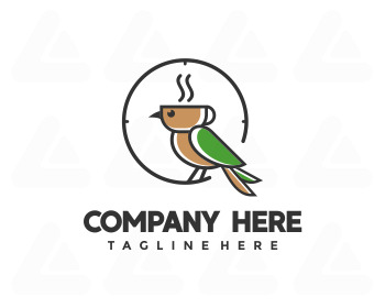 Logo design: bird coffee time
