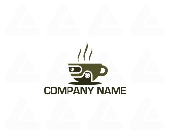 Ready made logo design: coffee robot
