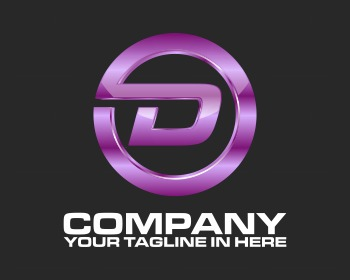 Ready made logo design: tech purple D