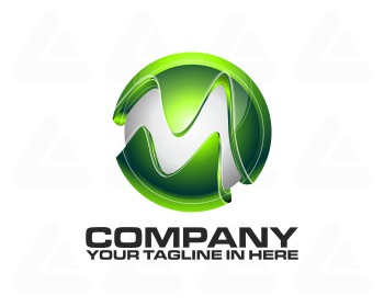 Logo design: tech green M